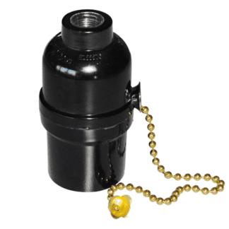 Ντουί Vintage Ε27 μαύρο πλαστικό με διακοπτάκι αλυσίδα χρυσή EL427907
