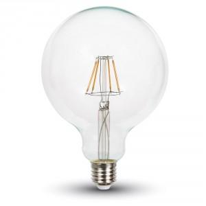 ΛΑΜΠΑ LED E27 4W G125 ΘΕΡΜΟ ΛΕΥΚΟ FILAMENT DIMMABLE V-TAC4399