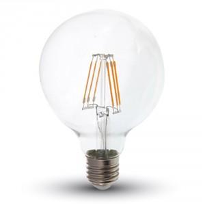 ΛΑΜΠΑ LED E27 6W G95 ΨΥΧΡΟ ΛΕΥΚΟ FILAMENT V-TAC4305
