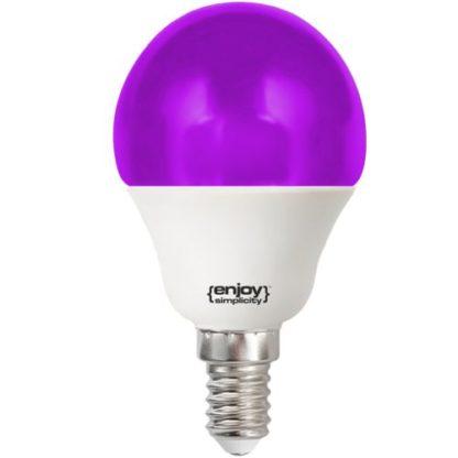 Λάμπα led P45 σφαιρική Ε14 1.8W 230V μωβ φως