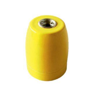 Διακοσμητικό ντουί Vintage E27 κίτρινο πορσελάνης