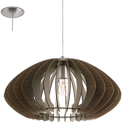 Κρεμαστό φωτιστικό COSSANO 2 95261 από σκούρο καφέ ξύλο