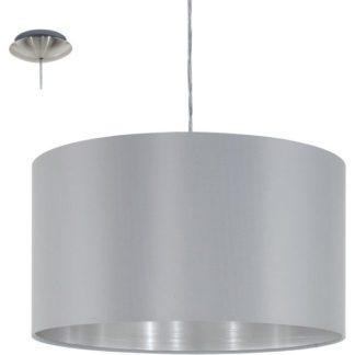 Κρεμαστό φωτιστικό μονόφωτο Ø38cm με ύφασμα γκρι+ασημί MASERLO 31601