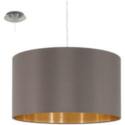 Κρεμαστό φωτιστικό μονόφωτο, Ø38cm και καπέλο σε χρώμα cappuccino+χρυσό MASERLO 31603