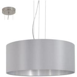 Κρεμαστό φωτιστικό τρίφωτο 3x60W, Ø53cm με ύφασμα σε χρώμα γκρι+ασημί MASERLO 31606