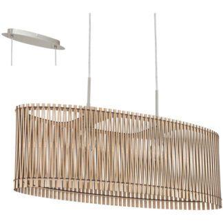 Κρεμαστό φωτιστικό SENDERO 96194 δίφωτο από ξύλο σφενδάμου