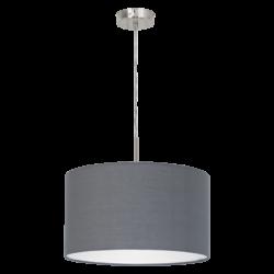 Κρεμαστό φωτιστικό Ø38cm με υφασμάτινο καπέλο σε χρώμα γκρι PASTERI 31573