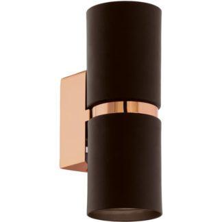 Απλίκα στρογγυλή δίφωτη PASSA 95371 LED μαύρο με χάλκινο