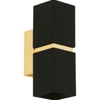 Απλίκα τετράγωνη δίφωτη PASSA 95373 LED μαύρο με χρυσό