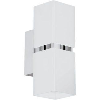 Απλίκα τετράγωνη δίφωτη PASSA 95377 LED λευκό και χρώμιο