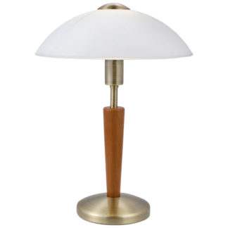 Επιτραπέζιο φωτιστικό SOLO 87256 μπρονζέ-δρυς-ματ λευκό γυαλί