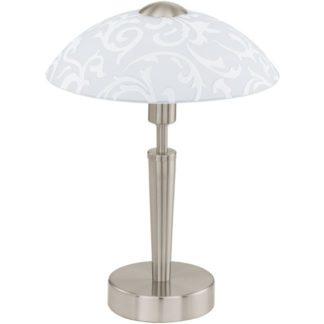 Επιτραπέζιο φωτιστικό SOLO 91238 ματ νίκελ ατσάλι-ματ λευκό γυαλί με σχέδια