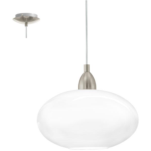 Κρεμαστό φωτιστικό BRENDA 87059 ματ νίκελ ατσάλι-λευκό γυαλί οπαλίου