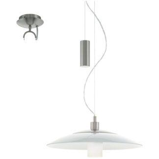 Κρεμαστό φωτιστικό CABRAL 95462 ματ νίκελ-λευκό γυαλί