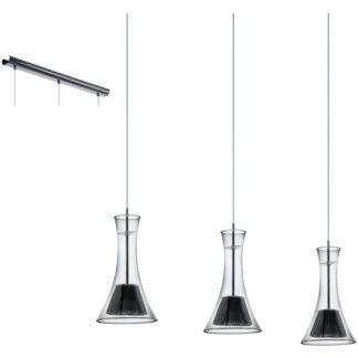 Κρεμαστό φωτιστικό MUSERO 93796 τρίφωτο μαύρο-καπνισμένο γυαλί