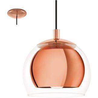 Κρεμαστό φωτιστικό ROCAMAR 94589 μονόφωτο, χρώμα χαλκού-διαφανές γυαλί