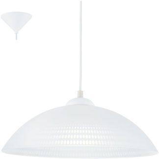 Κρεμαστό φωτιστικό VETRO 96068 λευκό γυαλί με διαφανές σχέδιο