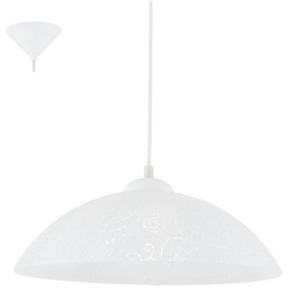 Κρεμαστό φωτιστικό VETRO 96071 γυαλί λευκό-διαφανή κυκλικά σχέδια