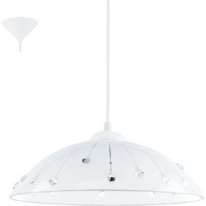 Κρεμαστό φωτιστικό VETRO 96073 γυαλί λευκό-διαφανές με κρυστάλλους