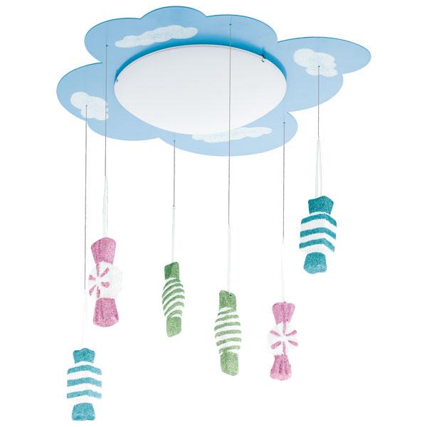 Παιδικό φωτιστικό οροφής γαλάζιο με κρεμαστές φιγούρες JUNIOR3 94748