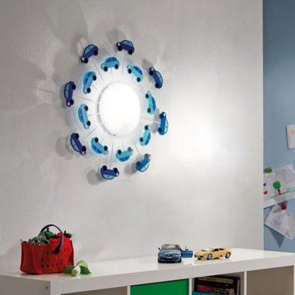 Παιδικό φωτιστικό οροφής-τοίχου μπλε αυτοκινητάκια VIKI1 92146 (2)