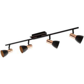 Σποτ οροφής-τοίχου τετράφωτο BARNHAM 94587 μαύρο & χάλκινο