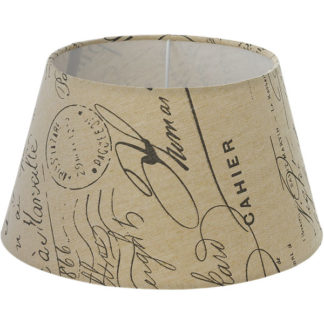 Καπέλο φωτιστικού 140mm VINTAGE από τυπωμένο καφέ και μπεζ ύφασμα με μοτίβο κείμενα Φ250 49987