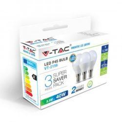 Λάμπα LED E14 P45 SMD 5.5W Θερμό λευκό 2700K Λευκό Blister 3 τμχ. VTAC 7357