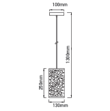 Μονόφωτο κρεμαστό φωτιστικό Μέταλλο με Matt Μαύρο σώμα VTAC 3825