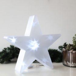 Διακοσμητικό Led Αστέρι Διάφανο Cool 35cm Μπαταρίας Επιδαπέδιο 3