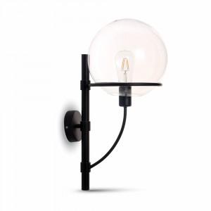 Επιτοίχιο φωτιστικό Γυαλί & μέταλλο με Διάφανο Globe Shape + Μαύρο σώμα vtac 3864
