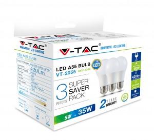 Λάμπα LED E27 A60 SMD 5W Θερμό λευκό 2700K Λευκό Blister 3 τμχ. VTAC 7266