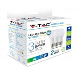 Λάμπα LED E27 A60 SMD 5W Λευκό 6400K Λευκό Blister 3 τμχ. VTAC 7268