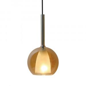 Μονόφωτο κρεμαστό φωτιστικό Γυαλί & μέταλλο με Amber + Λευκό σώμα vtac 3878