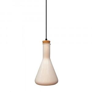 Μονόφωτο κρεμαστό φωτιστικό Γυαλί & ξύλο με Λευκό γυαλί σώμα vtac 3758