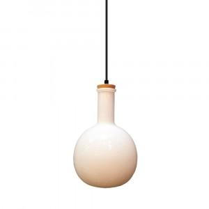 Μονόφωτο κρεμαστό φωτιστικό Γυαλί & ξύλο με Λευκό γυαλί σώμα vtac 3759
