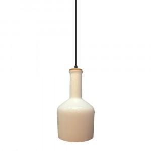 Μονόφωτο κρεμαστό φωτιστικό Γυαλί & ξύλο με Λευκό γυαλί σώμα vtac 3760
