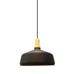 Μονόφωτο κρεμαστό φωτιστικό Σίδερο και ξύλο με Μαύρο σώμα 3766