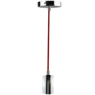 Φωτιστικό Κρεμαστό Νίκελ Γυαλιστερό με 1,5mt Καλώδιο Κόκκινο EL327102
