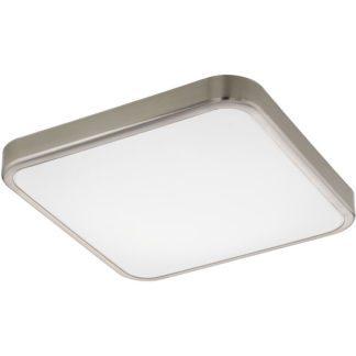 Φωτιστικό οροφής τετράγωνο MANILVA 1 96231 ματ νίκελ ατσάλι & κάλυμμα από λευκό ακρυλικό πλαστικό