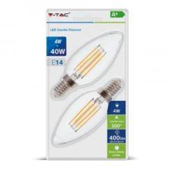 Λάμπα LED E14 Κερί Filament 4W Θερμό λευκό 2700K Γυαλί διάφανο Blister 2 τμχ. vtac 7365