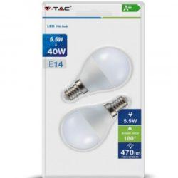 Λάμπα LED E14 P45 SMD 5.5W Θερμό λευκό 2700K Λευκό Blister 2 τμχ. vtac 7355