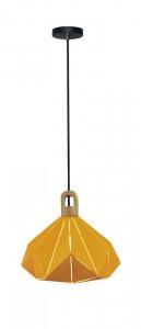Μονόφωτο κρεμαστό φωτιστικό Patel Prism με Κίτρινο σώμα & ξύλινη βάση vtac 3950