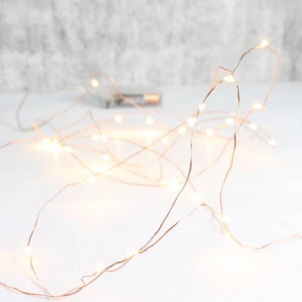 Φωτάκια Χαλκού 20 LED 2m με Μπαταρία Θερμό Λευκό