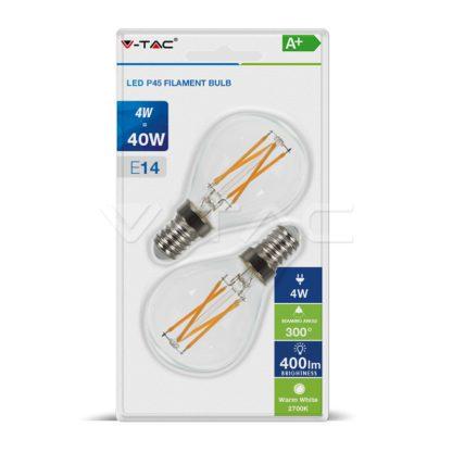 Λάμπα LED E14 P45 Cross Filament 4W Θερμό λευκό 2700K Γυαλί διάφανο Blister 2 τμχ. vtac 7366