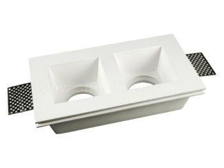 Γύψινο χωνευτό φωτιστικό Spot GU10 Ορθογώνιο Λευκό σώμα V-TAC 3648