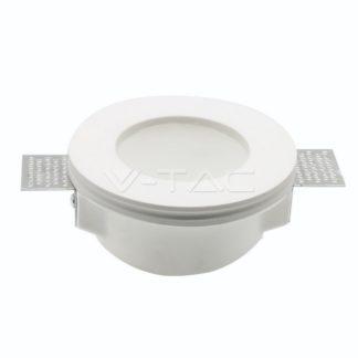 Γύψινο χωνευτό φωτιστικό Spot GU10 Στρογγυλό Λευκό σώμα και γυαλί frost V-TAC 3692