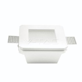Γύψινο χωνευτό φωτιστικό Spot GU10 Τετράγωνο Λευκό σώμα και γυαλί frost V-TAC 3691