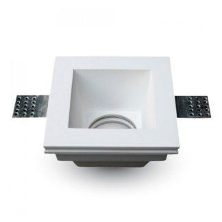 Γύψινο χωνευτό φωτιστικό Spot GU10 Τετράγωνο Λευκό σώμα V-TAC 3649