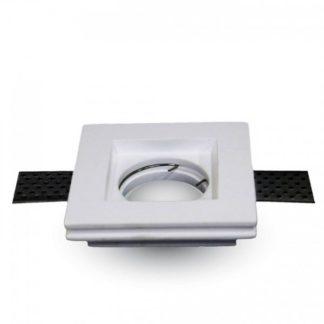 Γύψινο χωνευτό φωτιστικό Spot GU10 Τετράγωνο Λευκό σώμα V-TAC 3651